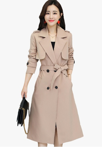 Halo beige F/W Lapel Trench Coat With Belt D712CAA76605C4GS_1