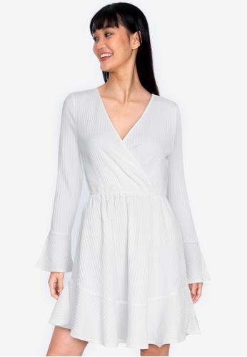 ZALORA BASICS white Long Sleeve Wrap Rib Dress AF406AADEB8781GS_1