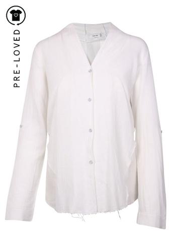Helmut Lang white Pre-Loved helmut lang torn transparent white shirt, wide wrist 3E625AA37C4DB1GS_1