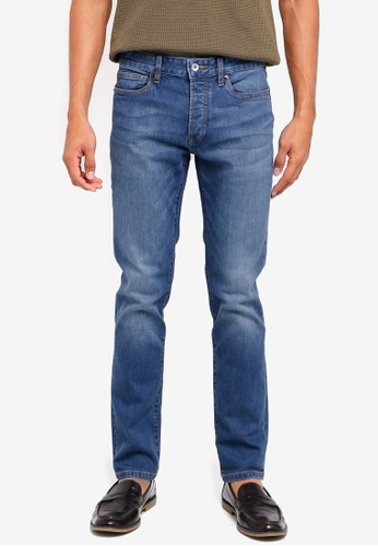 Topman blue Mid Wash Stretch Slim Jeans B5080AA9638CA0GS_1