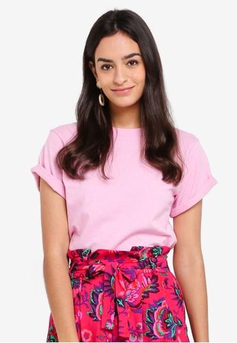 TOPSHOP pink Roll Sleeve T-Shirt AAB92AA1C35D6CGS_1