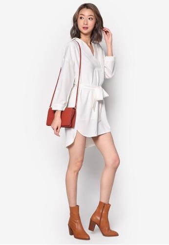裹飾繫帶長袖洋裝zalora 順豐, 服飾, 洋裝