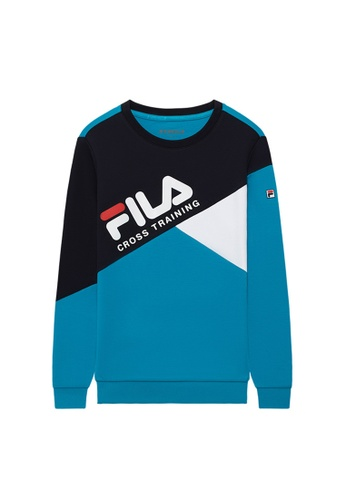 FILA blue FILA KIDS FILA Logo Colour Blocks Sweatshirts 8-15yrs 7E90FKA397D96FGS_1