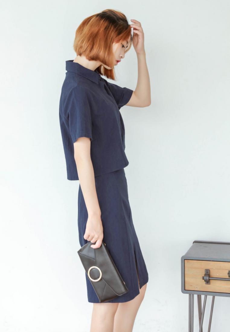 and Set Skirt Shopsfashion Blue Linen Top Lana Hqvt0