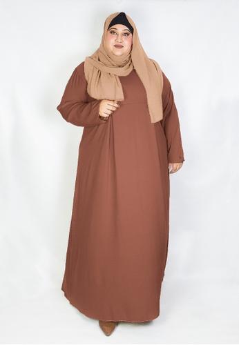 Zaryluq brown Curve Pleated Dress in Macchiato 1CA65AA0F48494GS_1