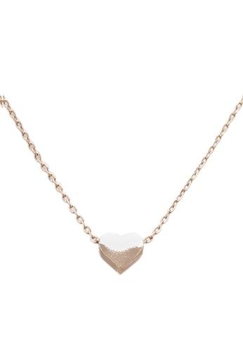 Orelia London gold Thread Thru Heart Necklace OR747AC0SC2OMY_1