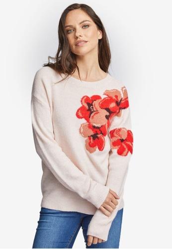 Dorothy Perkins Fine Knit Floral Print Jumper Round Neck 3//4 Sleeve