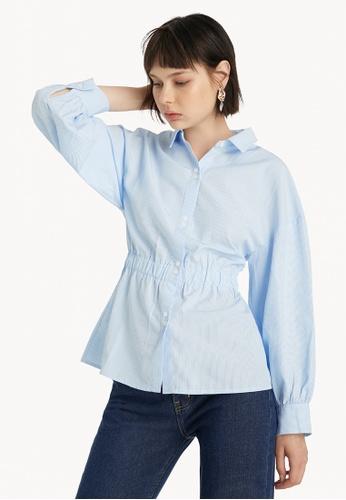 Pomelo blue Oversized Cinched Waist Shirt - Blue DAFDAAA14C0D16GS_1