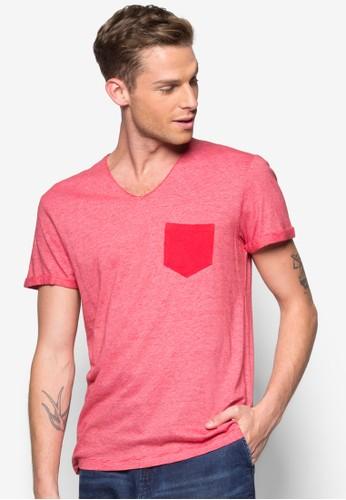 撞色口袋V 領Tesprit門市EE, 服飾, T恤