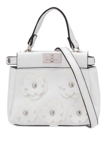 Velvet white Floral Detail Top Handle Bag 9FCCDZZ47A91E1GS_1
