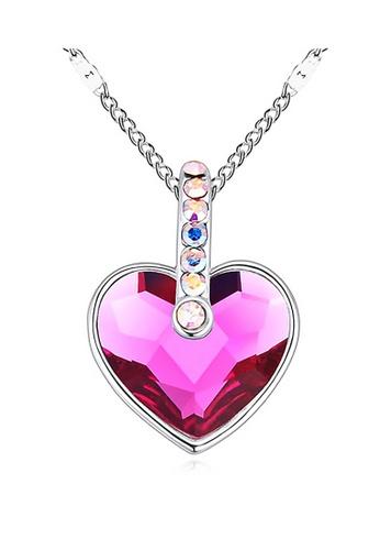 LOVENGIFTS purple LOVENGIFTS Angelic Heart Pendant Necklace (Magenta) LI189AC94MTHMY_1