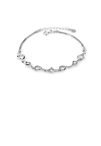 Glamorousky white 925 Sterling Silver Fashion Simple Heart Bracelet with Cubic Zirconia 0F773AC67A5BD7GS_1