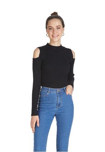 6IXTY8IGHT black BRESCIA, Shoulder Cut Out Sweater ST08829 663E2AA74DCBC2GS_1