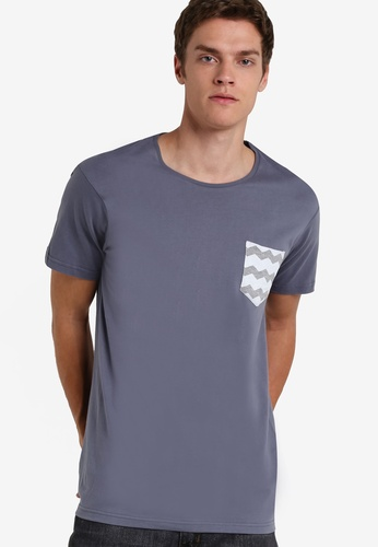 Cotton On grey and blue Textured Pocket Tee CO372AA79LBOMY_1
