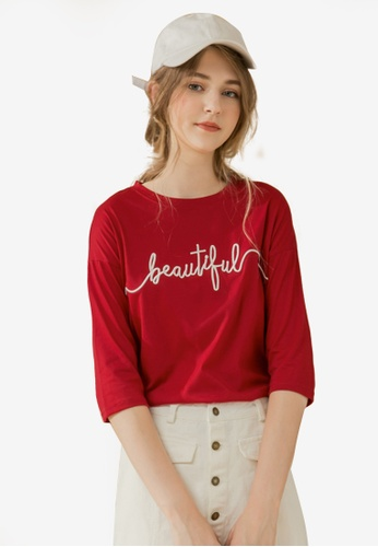Eyescream red Embroidered Text Tee 305D9AAD81A003GS_1
