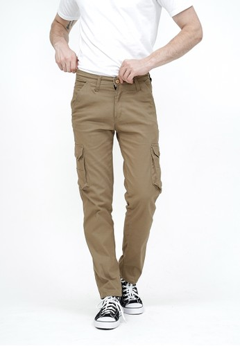 House of Cuff n/a Celana Panjang kargo Pria Slim Fit Cargo pants kantong stretch melar krim tua 92A41AA4D78E5CGS_1