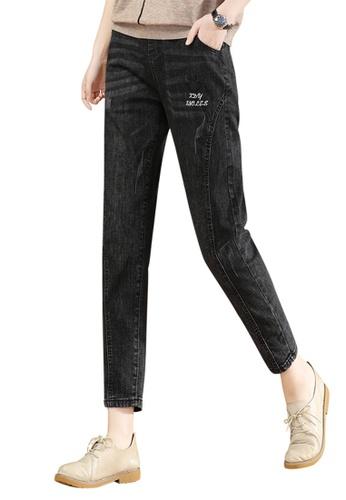 A-IN GIRLS black Elastic Waist Black Jeans B5A08AAE377111GS_1