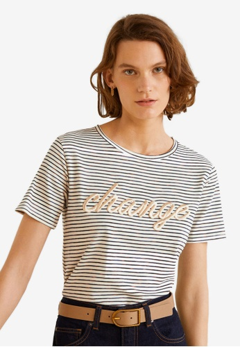 Mango white Embroidered Message T-Shirt CE358AA1EB61D9GS_1
