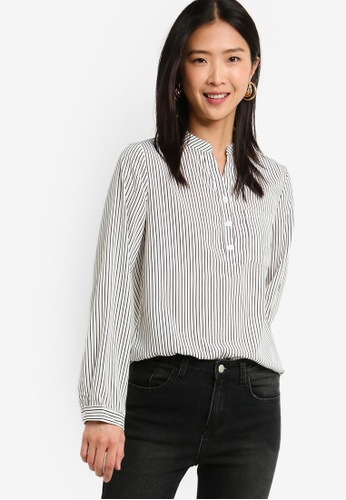 ZALORA BASICS multi Basic Button Front Pocket Details Blouse 97159AA3B4572AGS_1