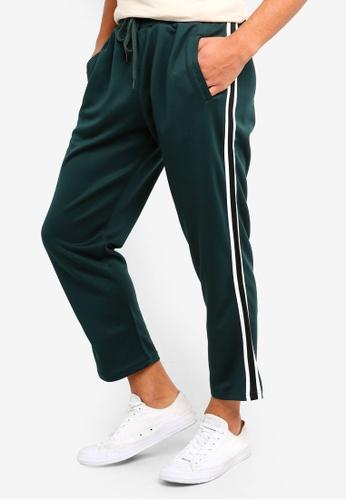 Cotton On 綠色 修身條紋滾邊運動褲 C488EAA149A29FGS_1
