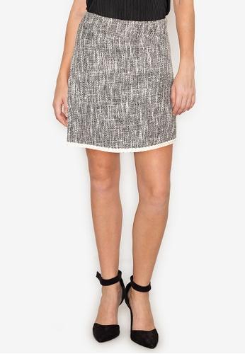 ZALORA WORK 黑色 Tweed Mini Skirt B4A58AA592C752GS_1