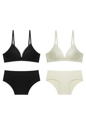 K.Excellence black Premium Comforn Black&green Lingerie Set (Bra and Underwear) 0CFAEUS6A94EDDGS_1