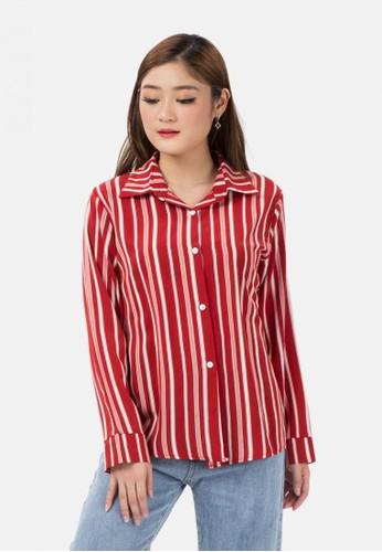 MKY CLOTHING red Stripe Long Sleeve Shirt A86FBAA3683356GS_1