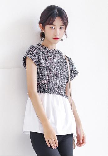 Shopsfashion black and white Tweed Flare Blouse SH656AA0G4VRSG_1