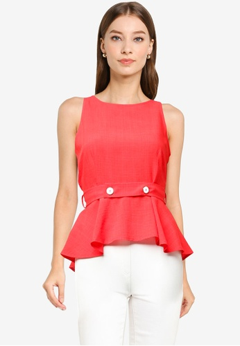 ZALORA WORK orange Button Detail Cut-In Peplum Top 8B996AAAE7576BGS_1