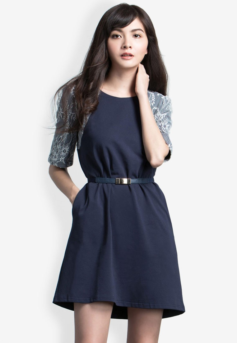A-Line Dress with Lace Sleeves