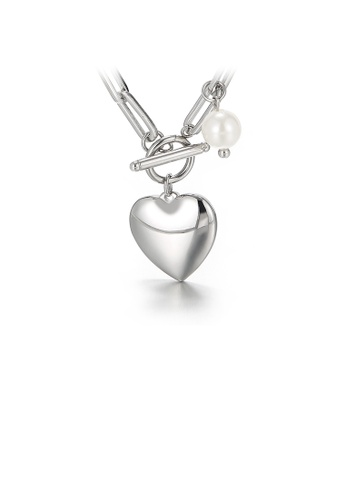 Glamorousky white Fashion and Romantic Heart-shaped 316L Stainless Steel Pendant with Imitation Pearls and Necklace 49119AC1BE4F13GS_1
