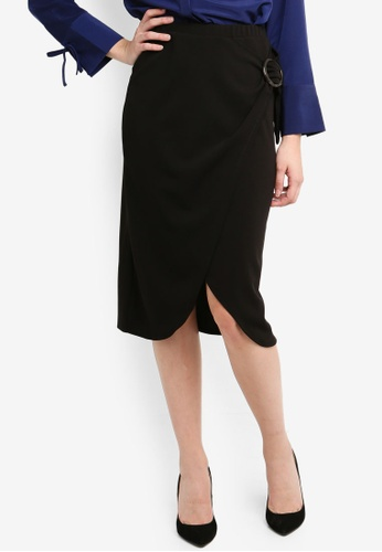 c4ef6dacf533 Shop Dorothy Perkins Black Eyelet Wrap Midi Skirt Online on ZALORA ...