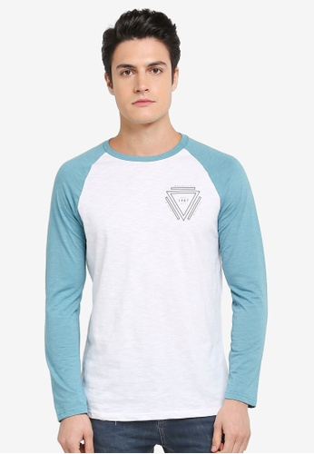 Burton Menswear London green Jade And White Long Sleeve Chest Print Raglan T-Shirt 10437AAD9E8F4AGS_1