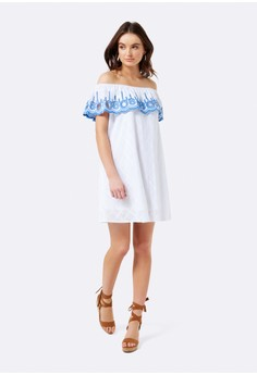 Lucy Off Shoulder Embroidered Dress