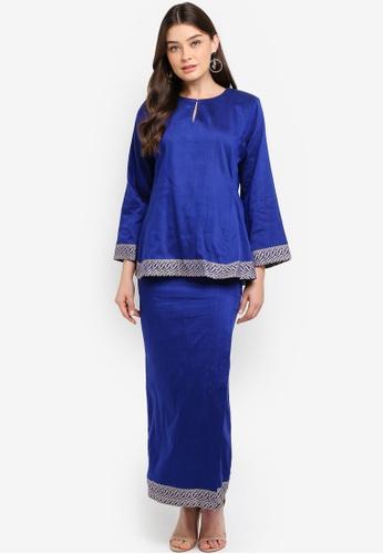 Baju Kedah Pesak Border Blue from POYA in blue_1