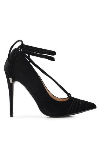 Public Desire black Media Lace Up Ankle Detail Court Shoes PU378SH0SIQ3MY_1