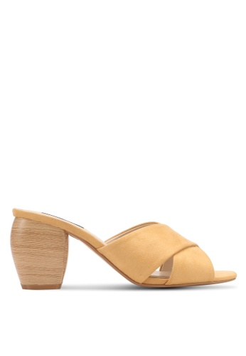 ZALORA yellow Wooden Block Detail Heels 790FBSH26524CDGS_1