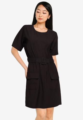 ZALORA BASICS black Double Pocket Dress With Belt DA5BBAA69201A1GS_1