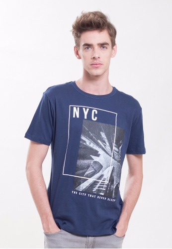 Drum NYC Printed Tee- Navy DR425AA0SUZFMY_1