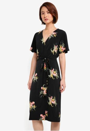 WAREHOUSE black Tropical Bunch Wrap Dress 986EDAA80BD1BCGS_1