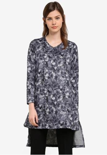 Aqeela Muslimah Wear grey Side Slit Fishtail Top AQ371AA0S4WZMY_1