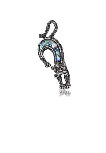 Glamorousky black Elegant and Fashion Cat Shell Brooch with Cubic Zirconia B22E0AC29202ECGS_1