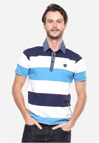 LGS - Slim Fit - Kaos Polo - Biru/Putih - Motif Garis