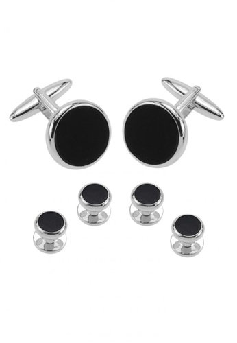 CUFF IT black Black Onyx Cufflinks and Studs Set CU047AC43ZRCHK_1