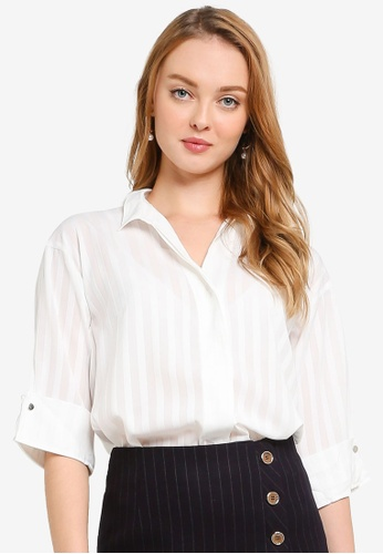 Hopeshow white Embossed Stripe Button Capri Sleeve Blouse BE62CAAF0A1245GS_1