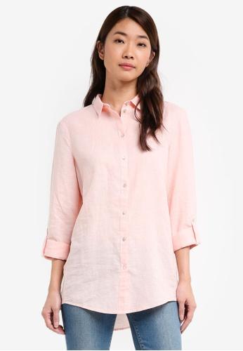 ESPRIT pink Flowing Cotton-Linen Shirt 24DF8AA20AA5FCGS_1
