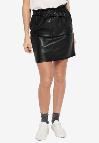 ONLY black Rigie High Waist PU Paper Bag Skirt B389AAA0694892GS_1