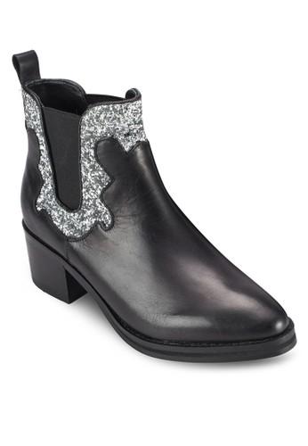 Paloma 閃飾粗跟踝zalora 台灣門市靴, 韓系時尚, 梳妝