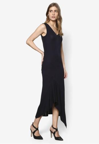 不對稱下擺V 領無袖連esprit outlet hong kong身裙, 服飾, 服飾