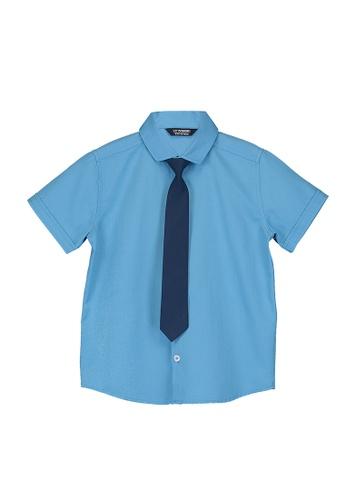 LC Waikiki blue Boy's Twill Shirt With Tie B72BEKAA40BFDCGS_1